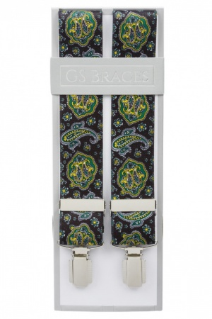 Mens Black Trouser Braces with Green and Yellow Paisley Design